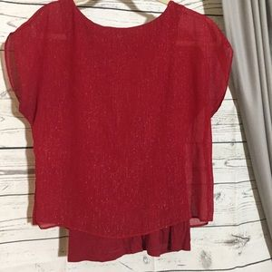 Express Shimmer Overlay Blouse Red
